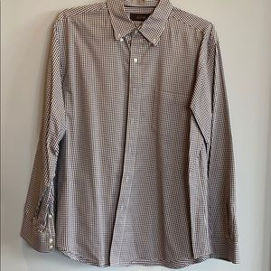 Men's Brown White Checkered Button Down Large